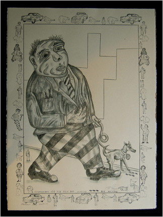 Dog Walker drawing by artist Bruce Thayer