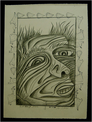 Swamp Face drawing by artist Bruce Thayer
