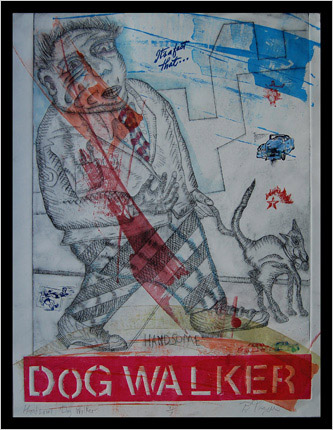 Dog Walker print by print maker Bruce Thayer