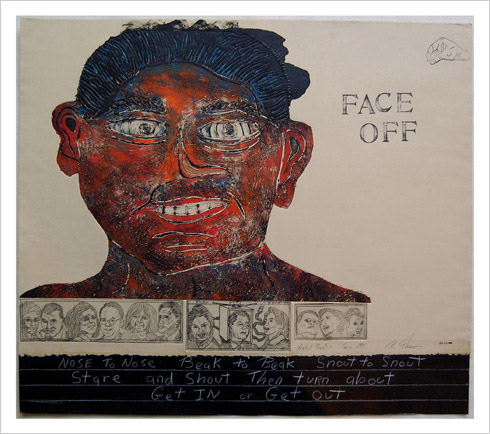Face Off print by print maker Bruce Thayer