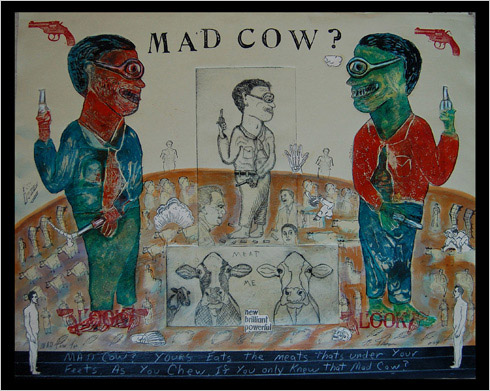 Mad Cow print by print maker Bruce Thayer