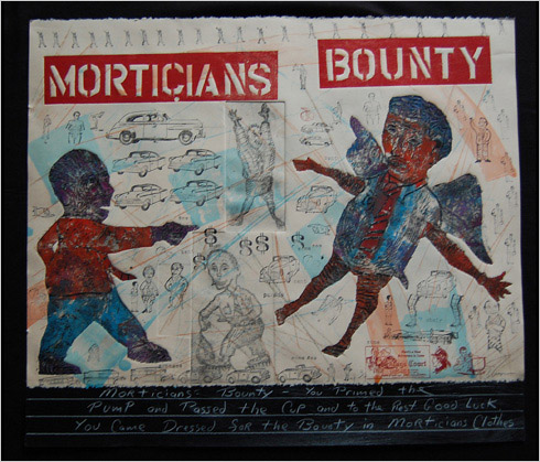 Morticians Bounty print by print maker Bruce Thayer
